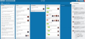 Trello board for Dinnr